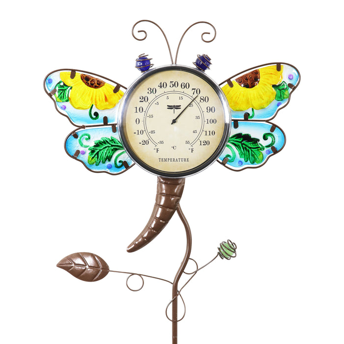 Dragonfly Thermometer Garden Stake Hand Painted and Made of glass and metal, 15 by 36 Inches