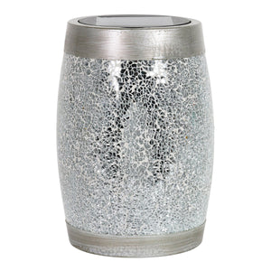 Solar Silver Glass and Resin Tabletop Lantern, 10 Inch