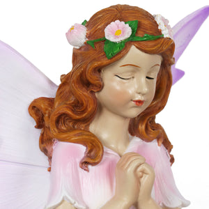 Exhart Solar Wishing Fairy with Firefly Jar and Squirrel, 10 Inch