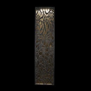 Solar Matte Black Metal Filigree Wall Art with Floral Pattern, 8 x 32.5 Inches