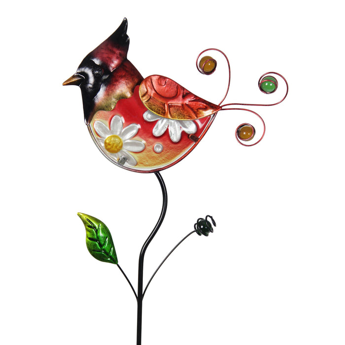 Exhart Hand Painted Glass and Metal Red Bird Garden Stake, 8 by 35 Inches