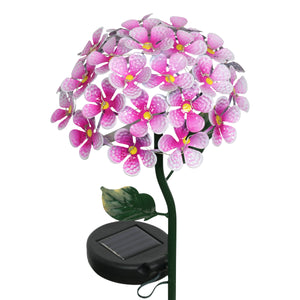 Exhart Solar Metal Hydrangea Garden Stake in Pink with Twenty Six LED lights, 7 by 21 Inches