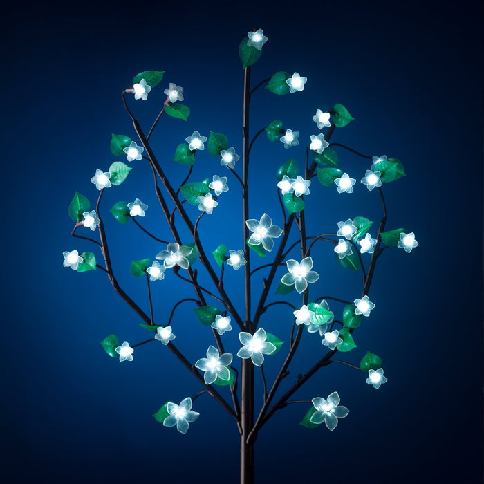 Exhart Anywhere 40 LED Cherry Blossom Plant in White, Battery Powered, 36 Inch