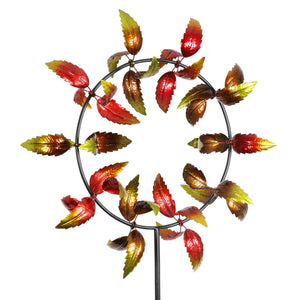 Large Kinetic Spinner Stake with 10 Spinning Leaves in Fall Colors, 37 by 77 Inches
