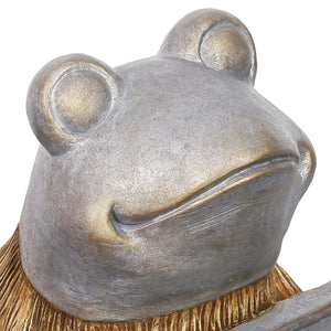Welcome Sign Garden Frog Statue in a Wood Look with Silver Detail, 11 Inch