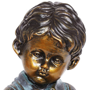 Bronze Look Boy and Puppy Statue, 10.5 Inches