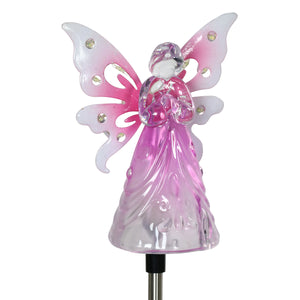 Solar Acrylic Angel with Wings and Twelve LED lights Metal Garden Stake in Pink, 4 by 34 Inches