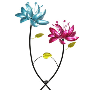 Exhart Flower Wind Spinner Garden Stake with Two Metallic Flowers, 20 by 47 Inches