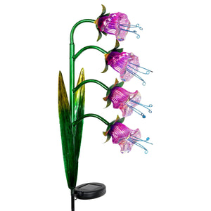 Solar Iridescent Glass Garden Stake with Four Cascading Pink Bell Flowers, 8 by 34 Inches