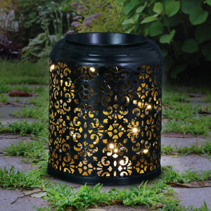 Metal Filigree LED House Plant Pot on an Automatic Timer, 8 Inch