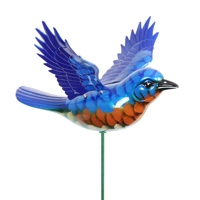 2pk Large WindyWings Blue Bird Garden Stakes, 11 inch wingspan