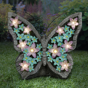 Solar Garden Butterfly Statue with Flower Wings, 11 Inch