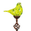 Exhart Solar Hand Blown Glass Bird Garden Stake in Yellow, 6 by 31 Inches