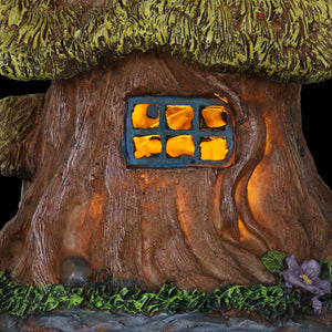 Exhart Solar Thatch Roof Fairy Tree House Garden Statue, 13 Inch
