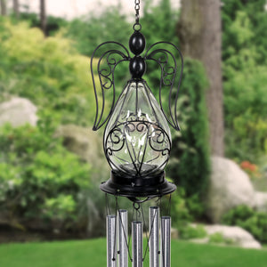 Solar Angel Glass and Metal Wind Chime with Fifteen LED Lights, 5 by 48 Inches