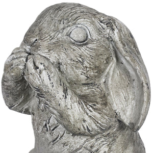 See No, Hear No, Speak No Evil Garden Bunny set of 3, 7.5 Inches