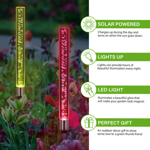 Two Solar Color Changing Acrylic Stationary Bubble Cylinder Garden Stake Set, 2.5 by 34 Inches