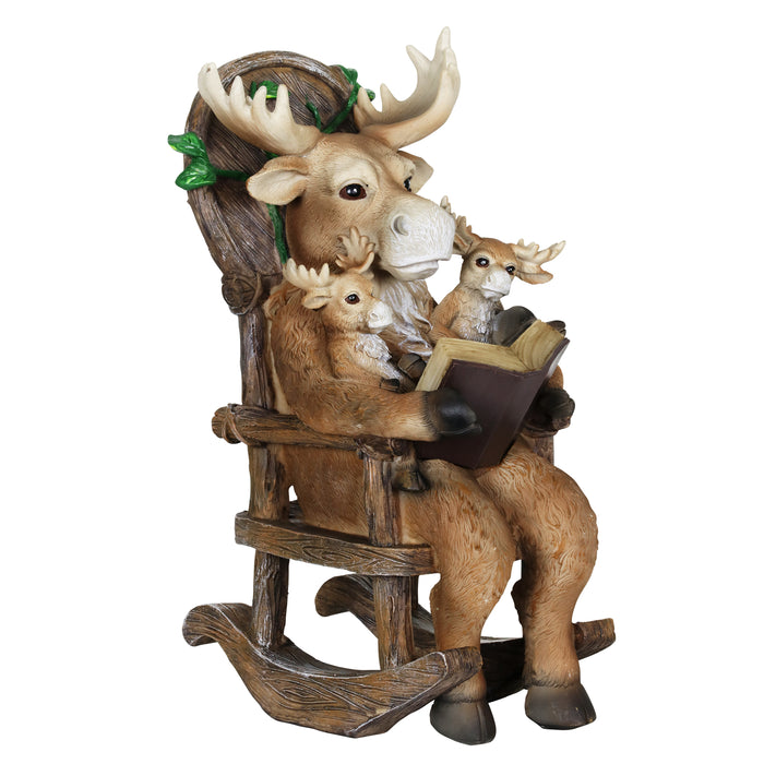 Solar Moose Family Reading a Story in a Rocking Chair Garden Statue, 12 Inch