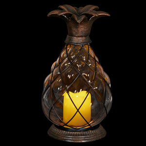 Bronze Pineapple Lantern with Battery Powered LED Candle on a Timer, 10.25 inch