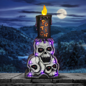 Battery-Operated Stacked Skulls with LED Candle Marquee Statue with Timer, 18 Inch