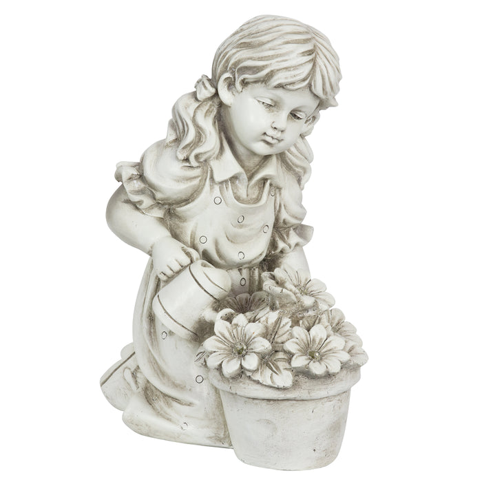 Solar Girl Watering Flowers Statue in Natural Resin Finish, 12 Inch