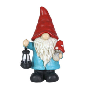 Garden Gnome With Solar Lantern and Mushroom Statuary, 11 by 19 Inches