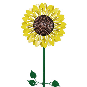 Small Kinetic Sunflower Garden Stake, 12 by 47 Inches
