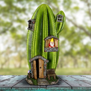 Exhart Solar Striped Cactus Fairy House Hand Painted Garden Statue, Stands 18 Inches