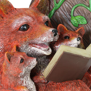 Solar Fox Family Reading a Story in a Rocking Chair Garden Statue, 12 Inch