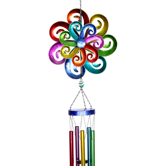 Rainbow Waves Double Wind Spinner Wind Chime, 11 by 50 Inches