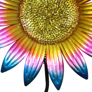 Colorful Metal Sunflower Garden Stake in Teal, 16 by 56 Inches