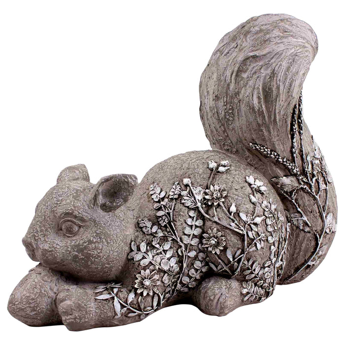 Solar Grey Squirrel Statue with Flowers, 13 by 10 Inch