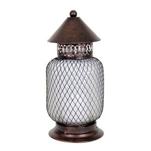 10 inch Battery Powered Bronze Lantern with LED Candle - with timer Tall Mesh Pattern