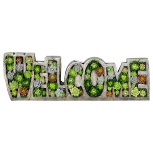 Solar Welcome Succulent Marquee Sign Garden Statue, 20 by 6 Inches