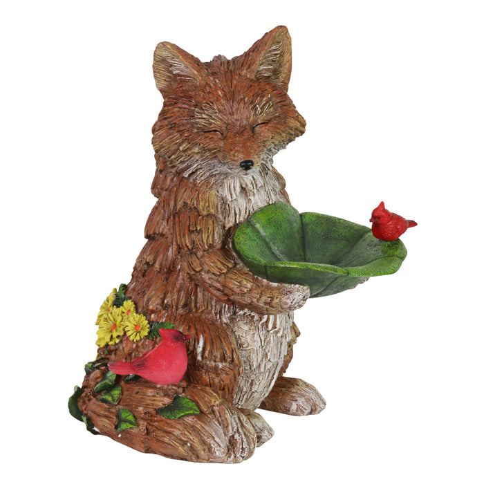Solar Fox with Leaf Shaped Seed Holder Garden Statue, 12 Inch