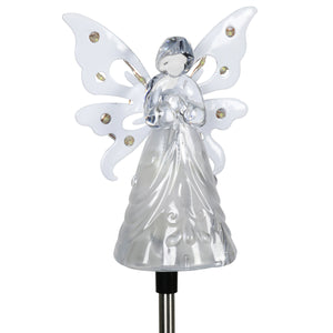 Exhart Solar Clear White Angel with Wings and Twelve LED lights on a Metal Garden Stake, 4 by 34 Inches
