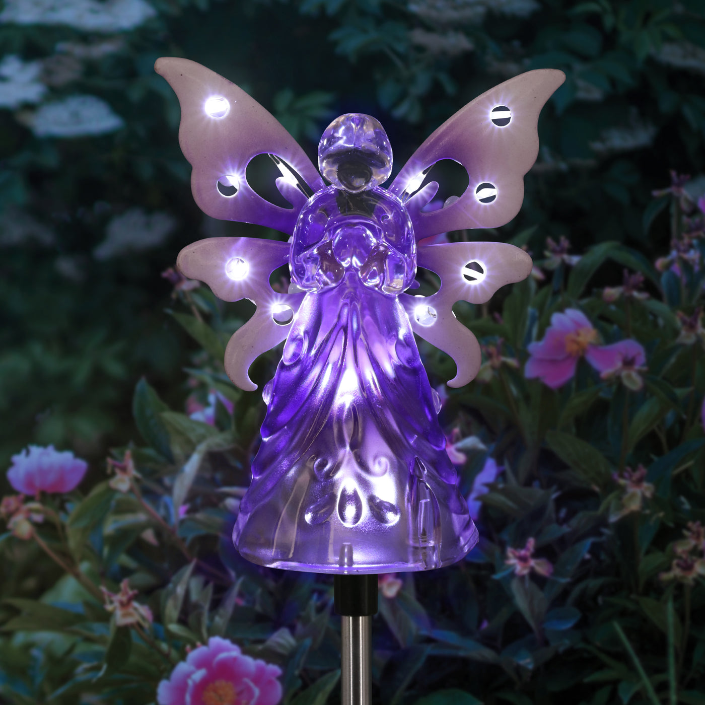 Solar Acrylic Angel With Wings And Twelve Led Lights Metal Garden Stake In Purple 4 By 34 Inches Exhart Home Garden Decor