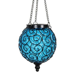 Solar Round Glass and Metal Hanging Lantern in Blue with 15 LED Fairy Firefly String Lights, 7 by 21 Inches