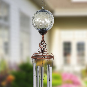 Solar Pearlized Honeycomb Glass Ball Wind Chime with Metal Finial Detail, 5 by 46 Inches