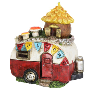 Solar Vintage Trailer with Acorn Fairy House and Welcome Banner, 9 Inch
