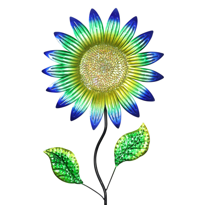 Colorful Metal Sunflower Garden Stake in Blue, 16 by 56 Inches