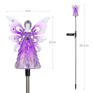 Solar Acrylic Angel with Wings and Twelve LED lights Metal Garden Stake in Purple, 4 by 34 Inches