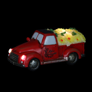 Solar Retro Red Truck with Yellow LED Sunflowers Garden Statuary, 5 Inch