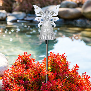 Solar Clear White Angel with Wings and Twelve LED lights on a Metal Garden Stake, 4 by 34 Inches