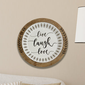 Decorative Wall Art Plate with Live Love Laugh Inscription, 16 Inch