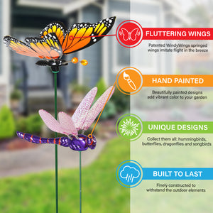 "12 Piece 4"" WindyWings Plant Stake Assortment in Hummingbird, Butterfly, Dragonfly, Song Bird, 6.5 x 4 x 15.5 Inches"