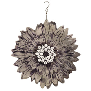 Silver Sunflower 3D Laser Cut Hanging Garden Spinner with Beads, 12 Inch