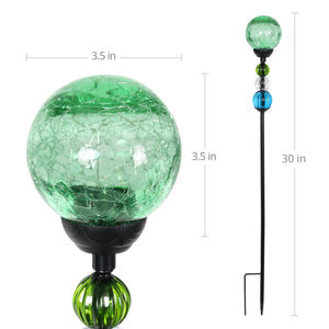 Solar Green Crackle Glass Ball Garden Stake with Six LED lights and Bead Details, 4 by 30 Inches