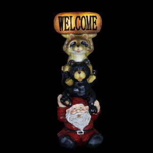 Solar Welcome Sign Garden Statue with Stacked Gnome, Raccoon and Bear, 7 by 19 Inches