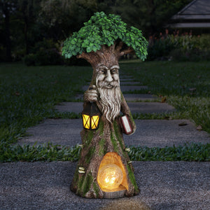 Solar Fairy Tree Carrying Book with Firefly LED Crackle Ball, 16 Inch